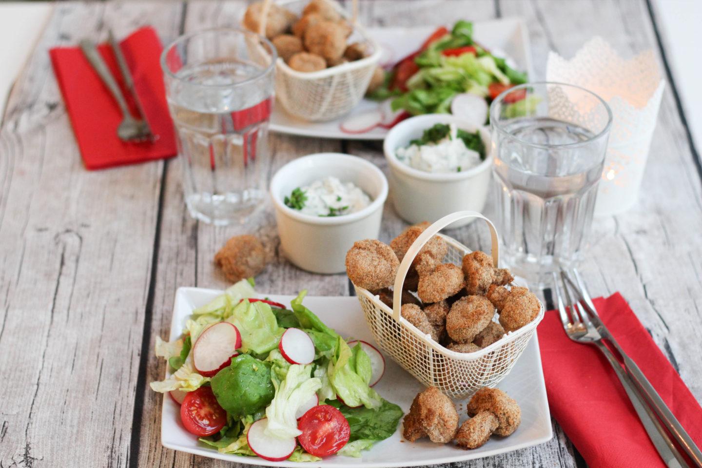 Vegane panierte Champignons mit Sauce Tartare