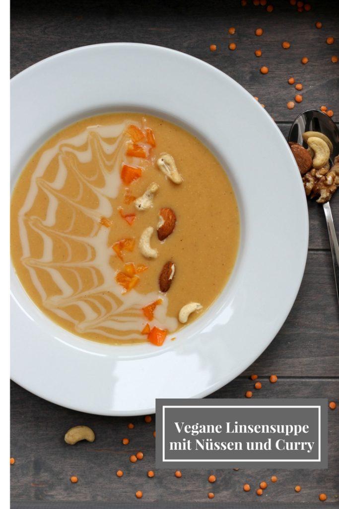 Vegane Linsensuppe - Nüsse - Curry- DeinHomespa