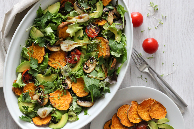 Veganer Knollenwinde Salat vom Ofen oder Grill