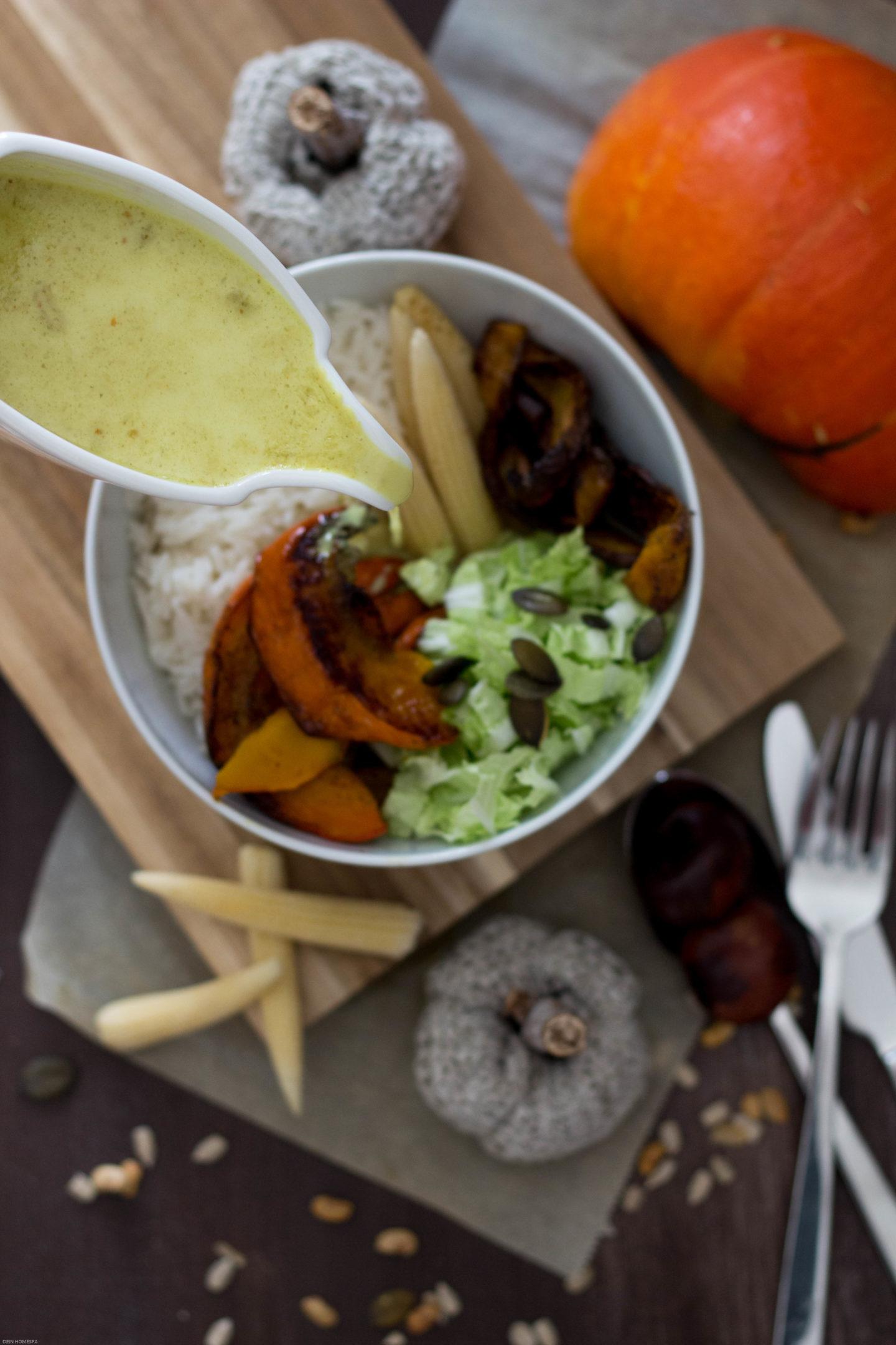 HomeSpa, Vegan, Cooking, Austria, Mostviertel, Glutenfrei,Herbstbowl, Ofenkürbis