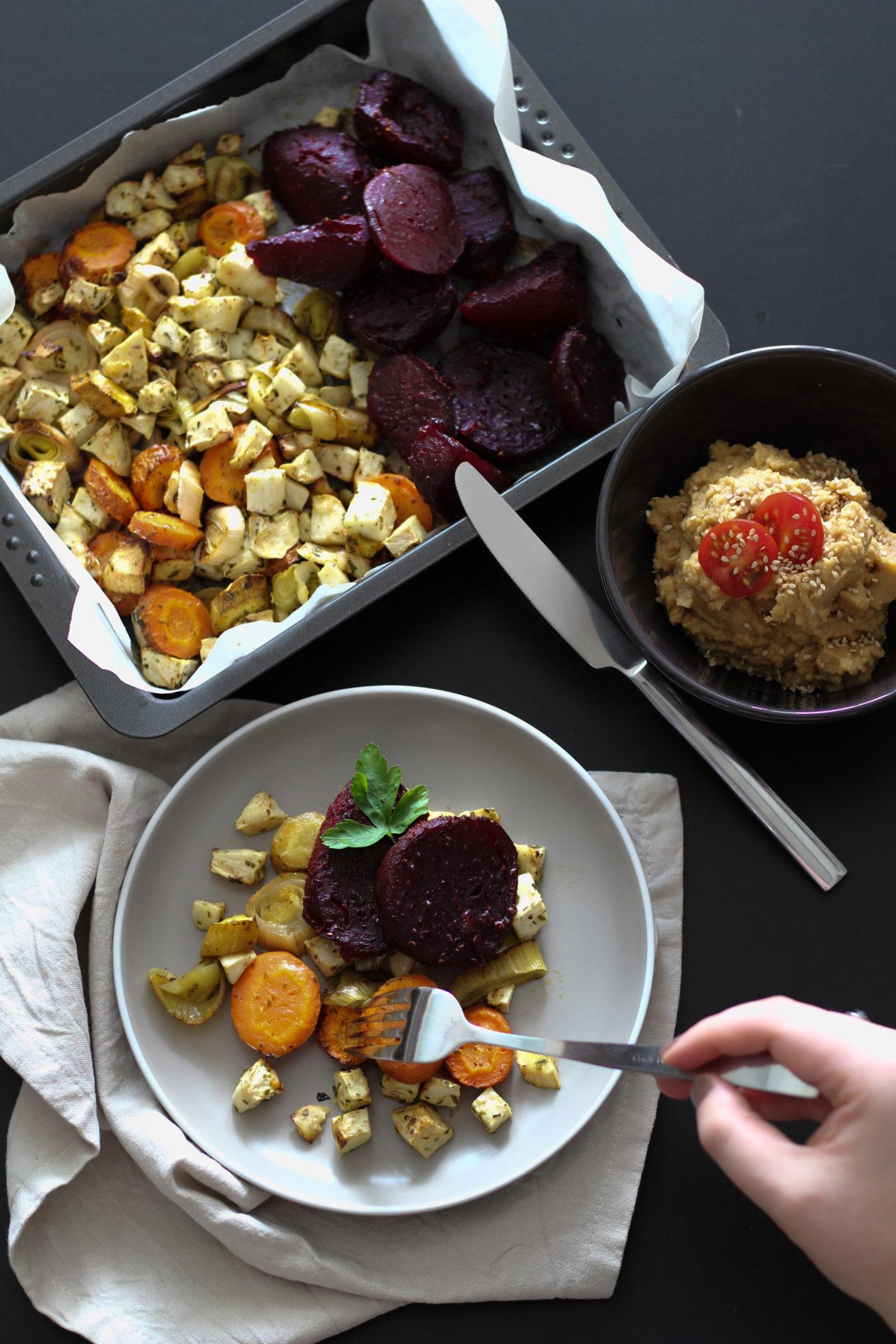 HomeSpa, Vegan Cooking, Austria, Veganes Ofengemüse mit Kichererbsenpüree