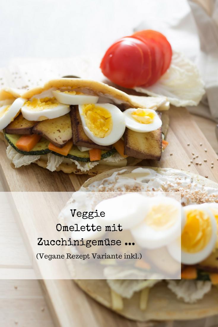 Veganes Omelette mit geröstetem Zucchinigemüse für deinen Osterbrunch! Wer mag kann gerne eine Veggie Variante mit Ei daraus machen...