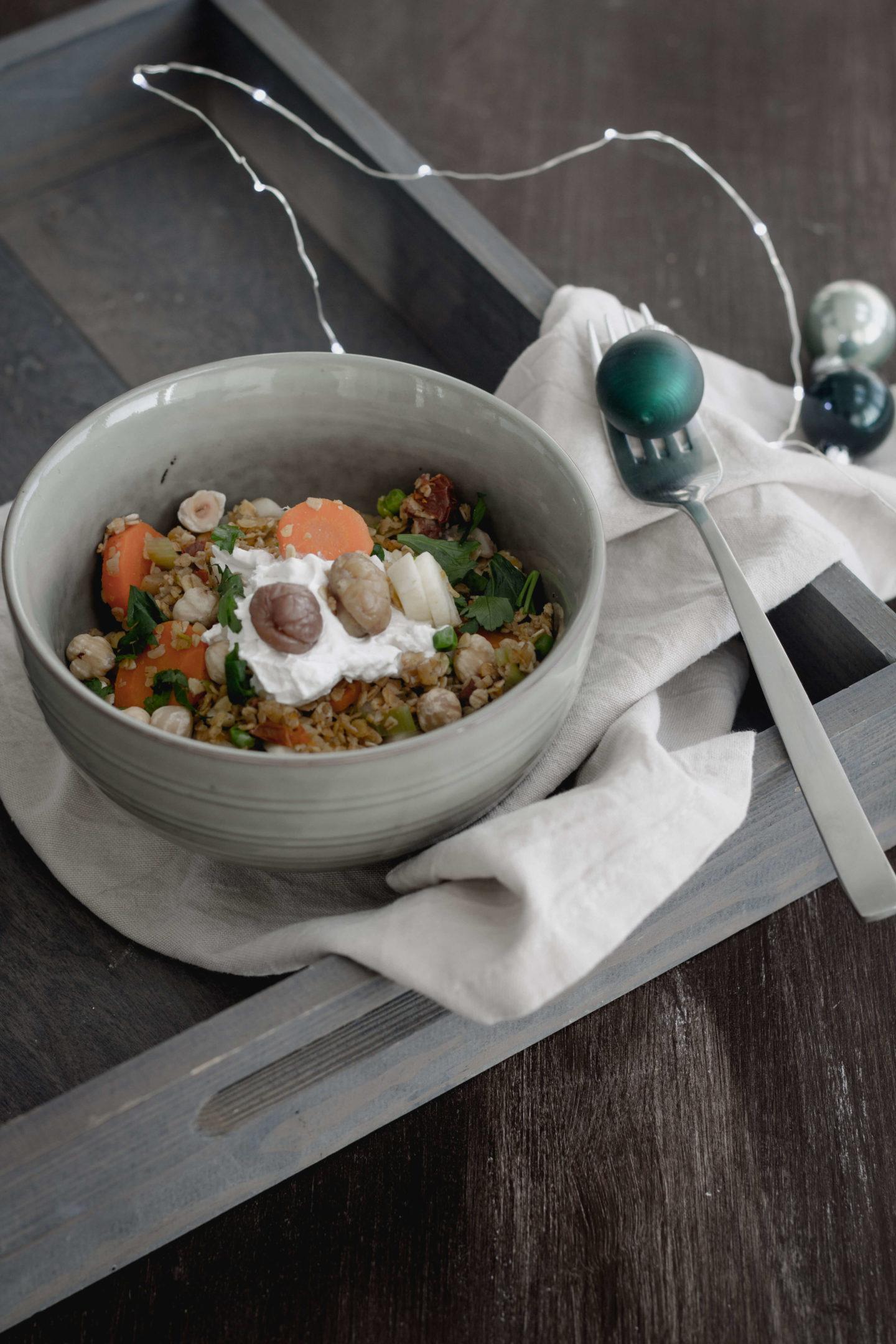 Geröstete Haferflocken mit Maroni und Karottengemüse!