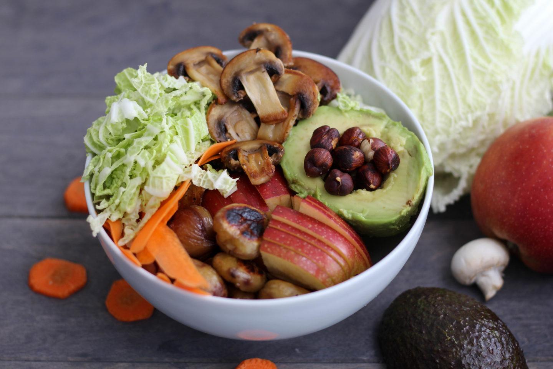 Vegane Maroni Bowl mit Curry Dressing