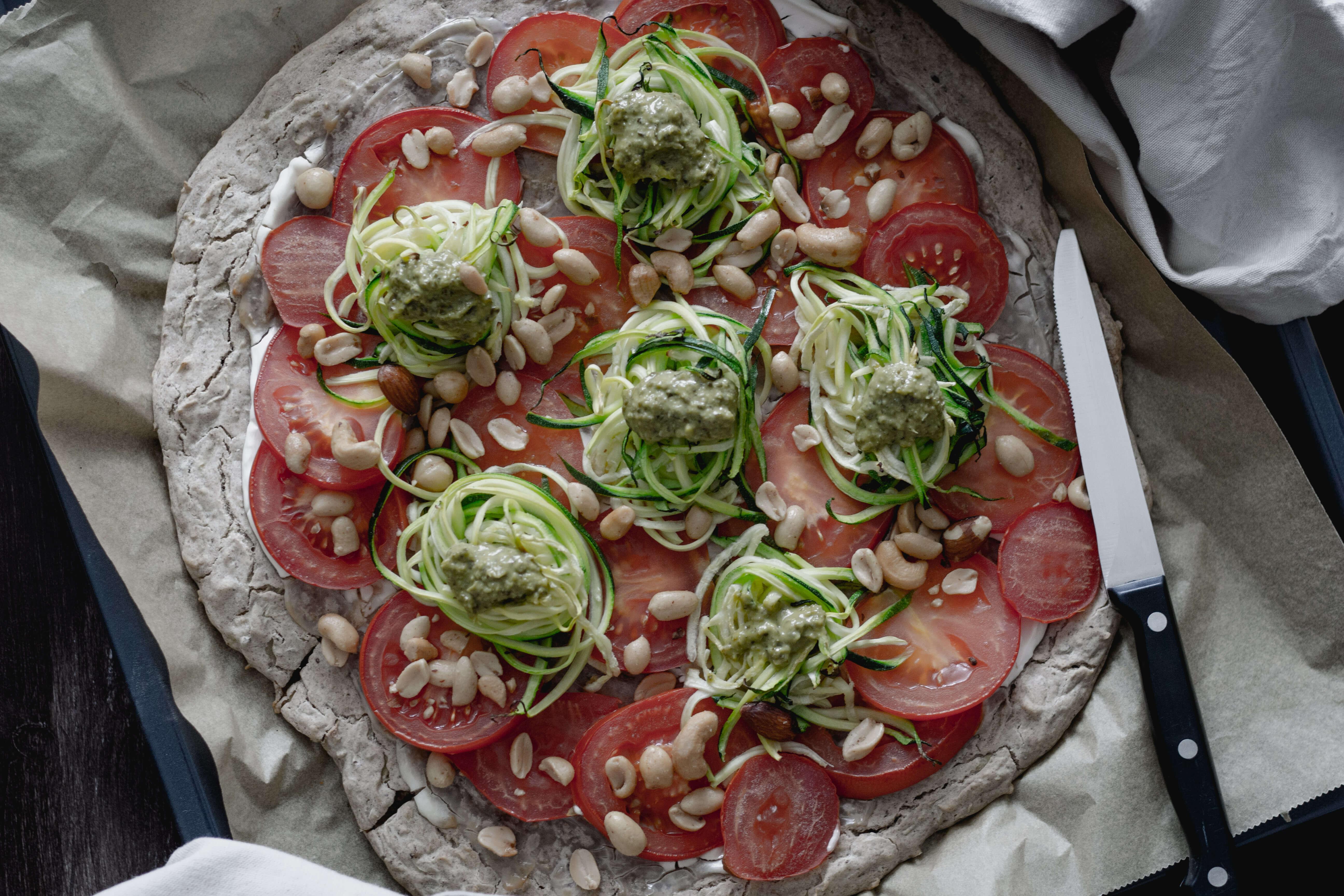 Vegane, glutenfreie Buchweizen- Erdäpfelpizza