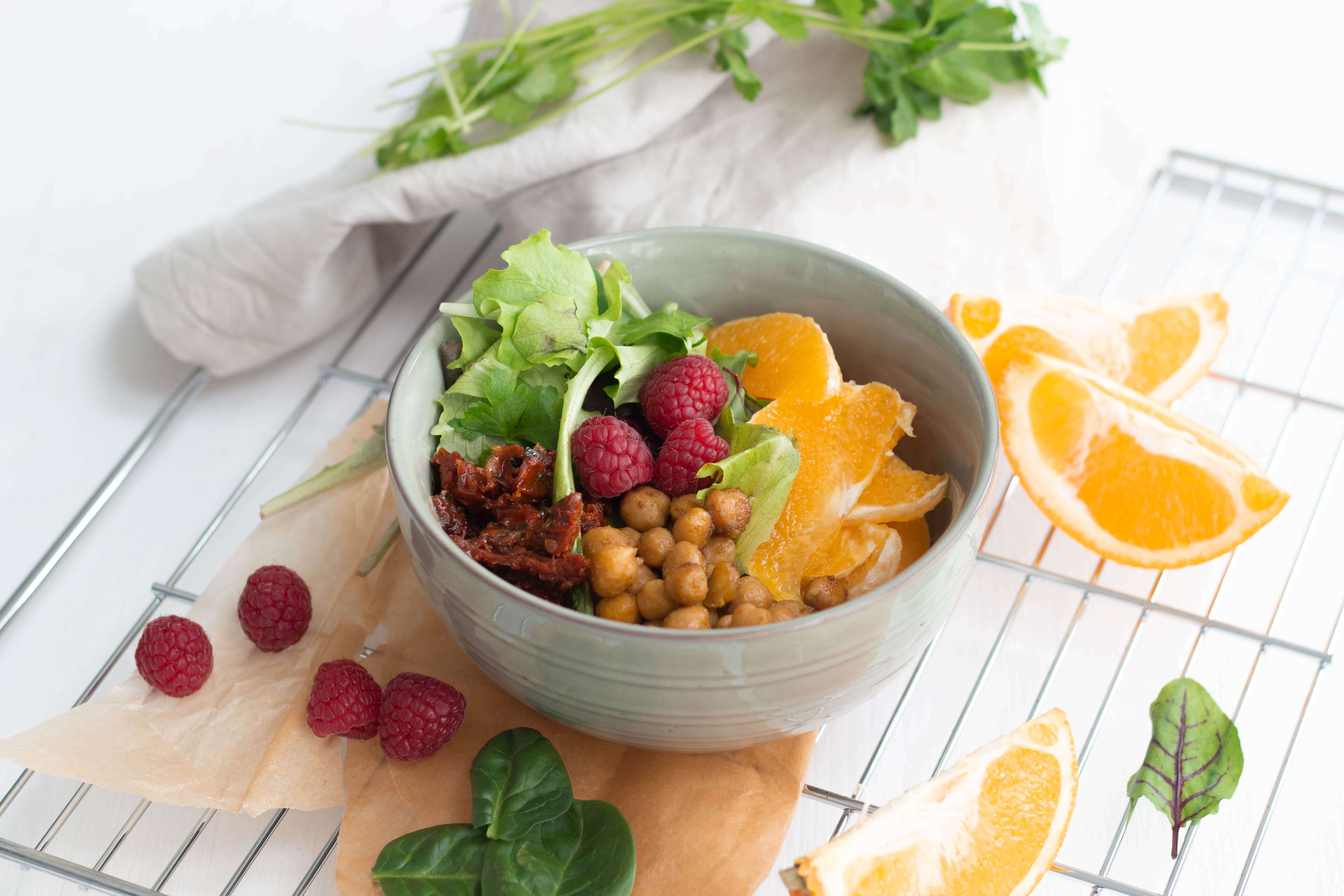 Vegane Orangen Kichererbsen Bowl